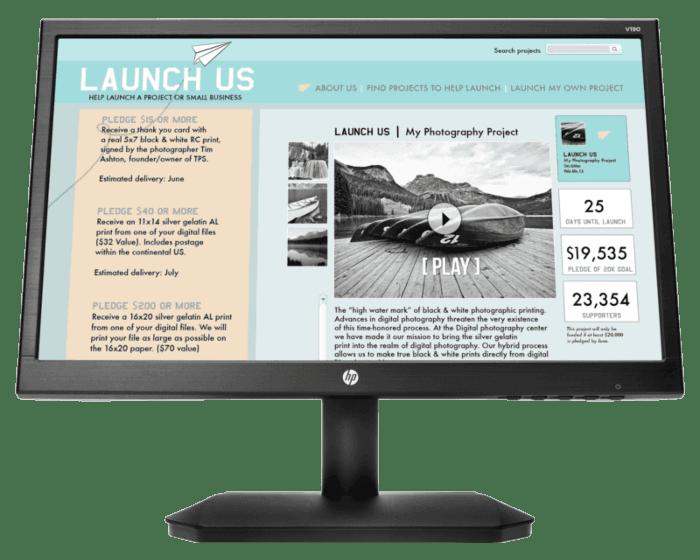 Monitor HP 18.5″ LED VGA; 2NK17AA