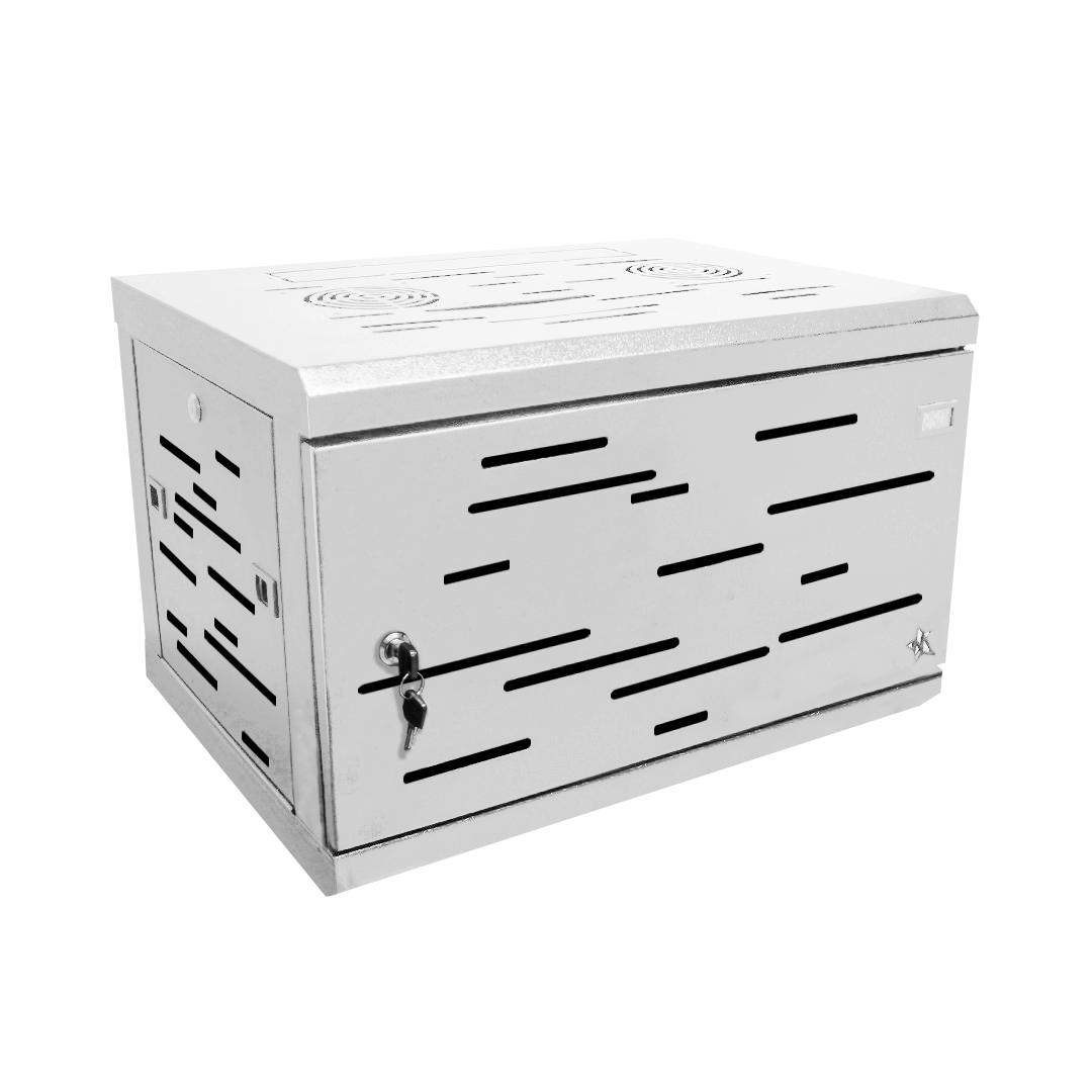 Rack gabinete de pared  blanco cerrado Metalnet de 6 U