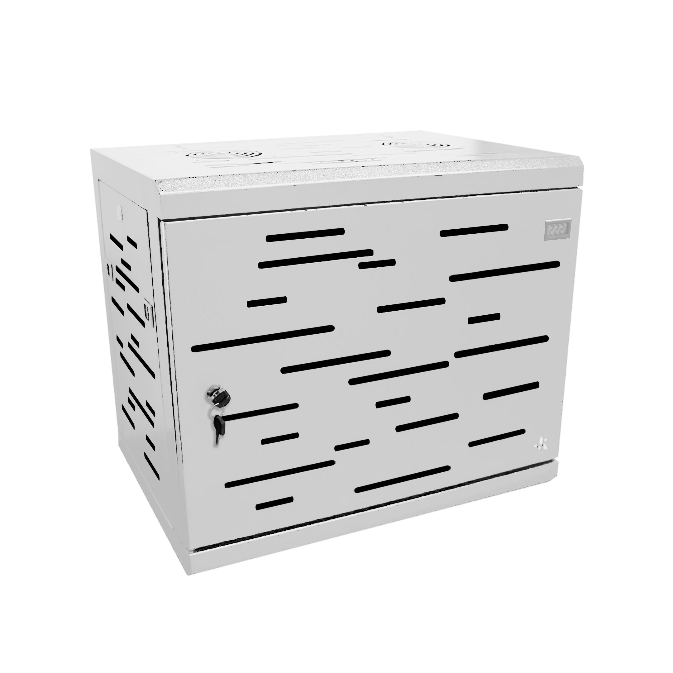 Rack gabinete de pared blanco cerrado Metalnet de 9 U