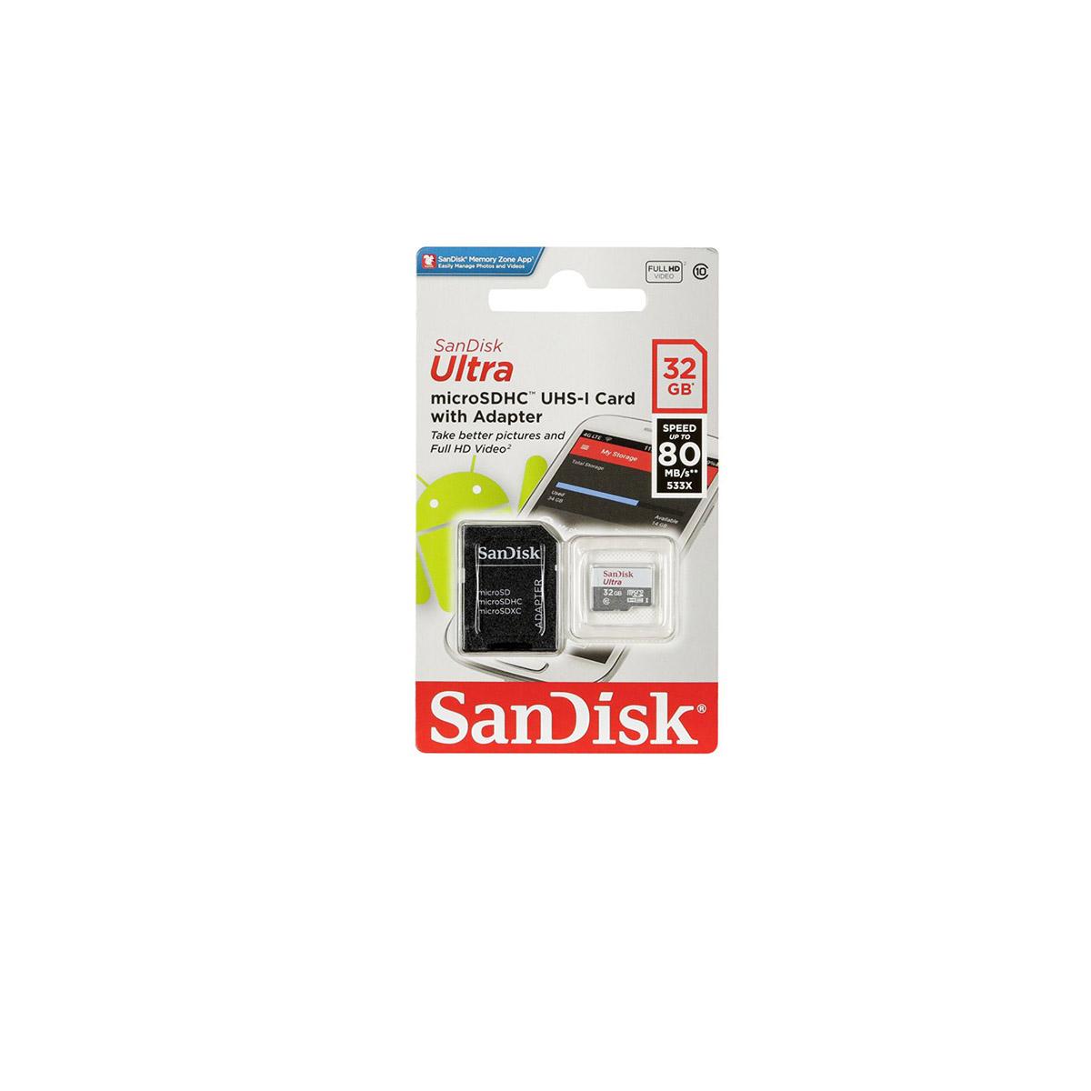 Memoria Flash SanDisk Ultra, 32GB MicroSDHC  SDSQUNS-032G-GN3MA