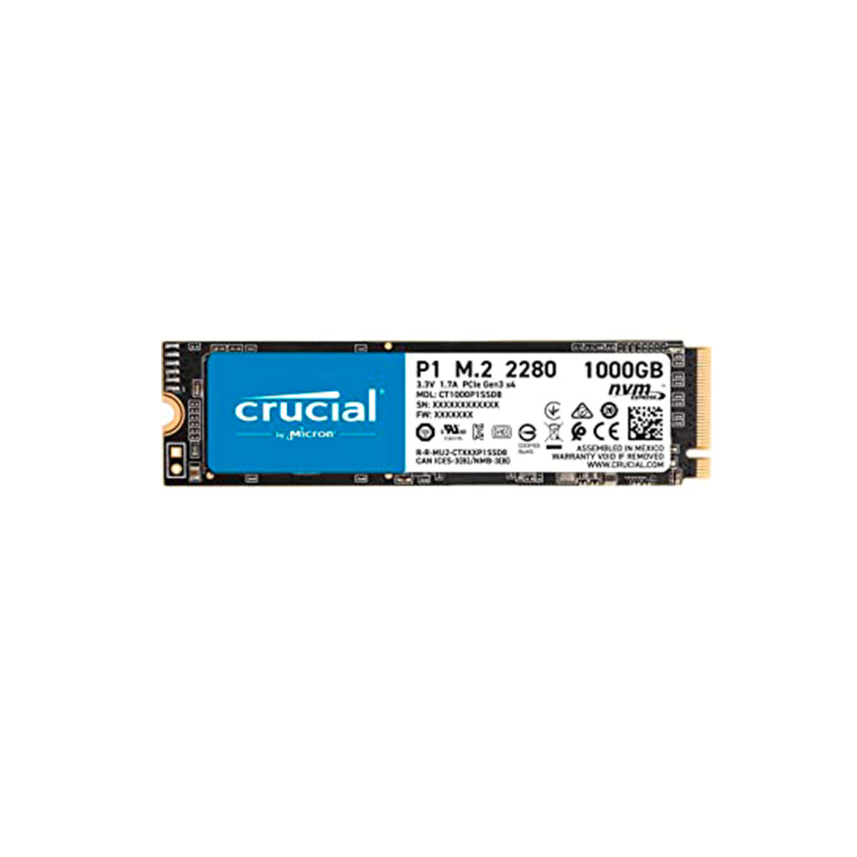 Disco duro 1TB Interno SSD Crucial M2 3D NAND NVME CT1000P1SSD8