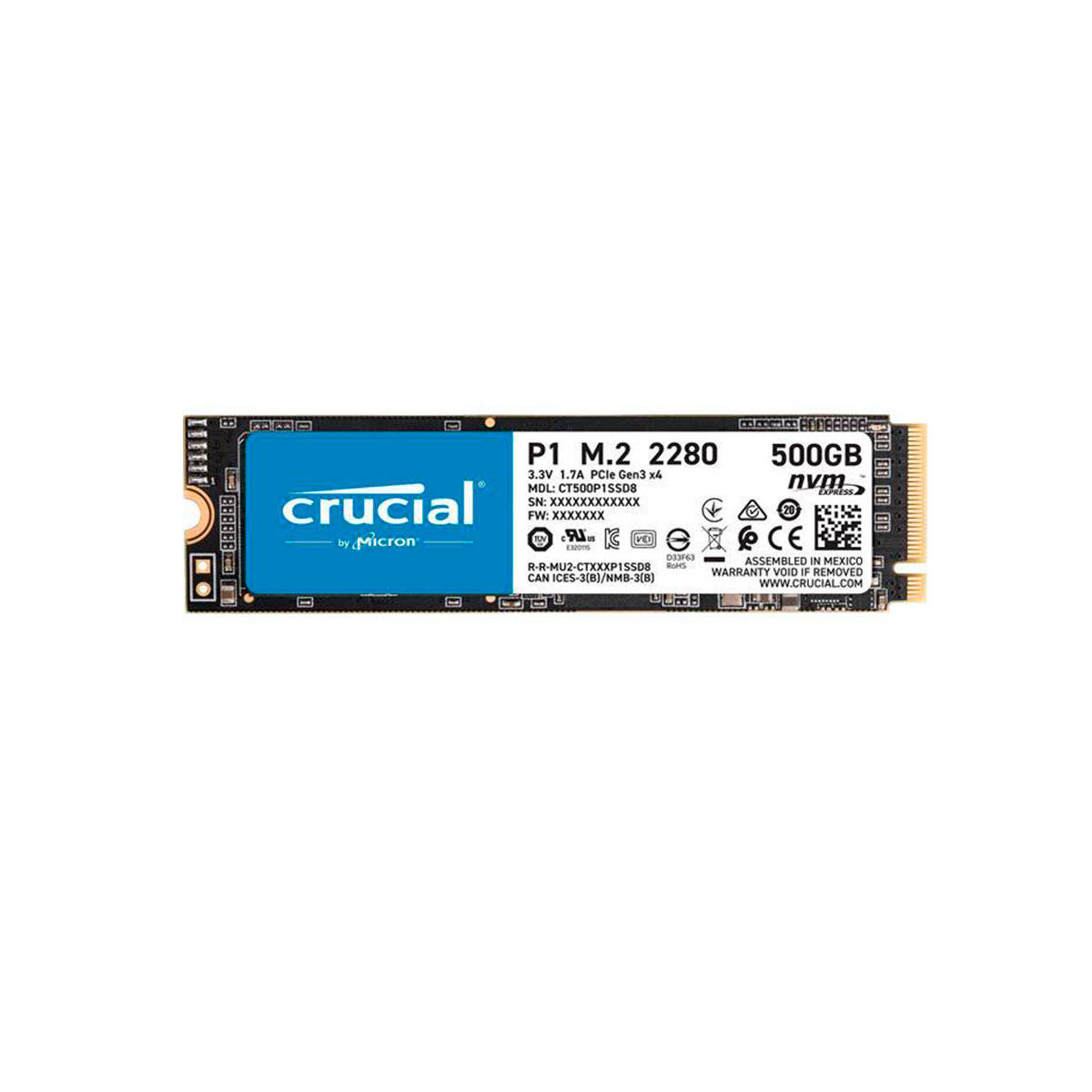 Disco duro 500GB Interno SSD Crucial M2 3D NAND NVME CT500P1SSD8