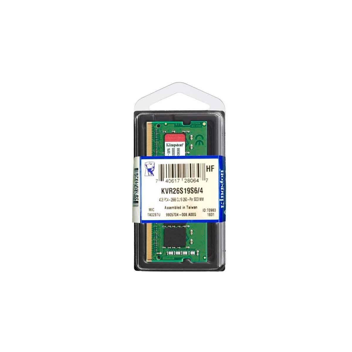 MEMORIA KINGSTON 4GB DDR4 2666 MHz SODIMM LAPTOPS KVR26S19S6/4